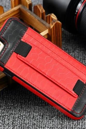 Slim Card Slot Hand Strap Holder Stand Leather phone case For iPhone 6 6S Plus, Red + Black