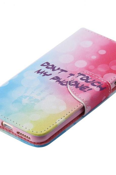 Luxury -KT Painted Wallet Leather Case Cover For Apple iPhone 6S 6 Plus 5S SE, Don't Touch My Phone