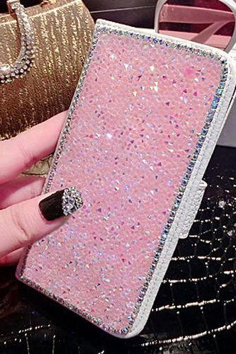 Luxury Bling Rhinestone Diamond Leather Cards Case Flip Wallet Phone Case Cover, Pink